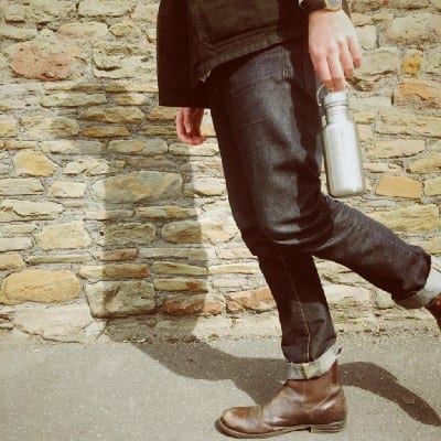 Man with reusable water bottle