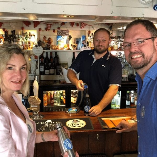 Left to right: Councillor Claire Malcomson (Cabinet Member for Environment) Joel Pyke (landlord of The Old House pub), Councillor Clayton Wellman (Cabinet Member for Sustainable Economy).
